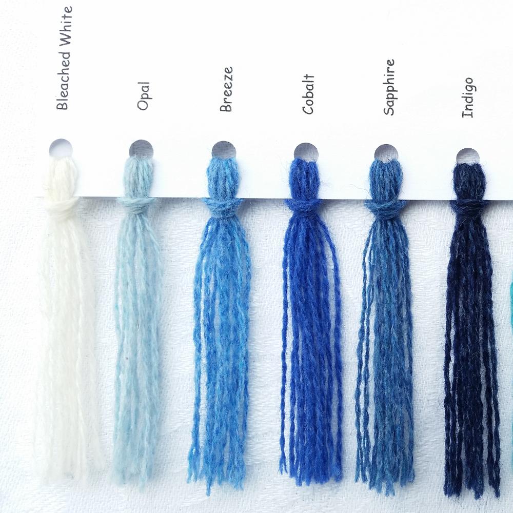 Ensfarvede Puder farvekort blå