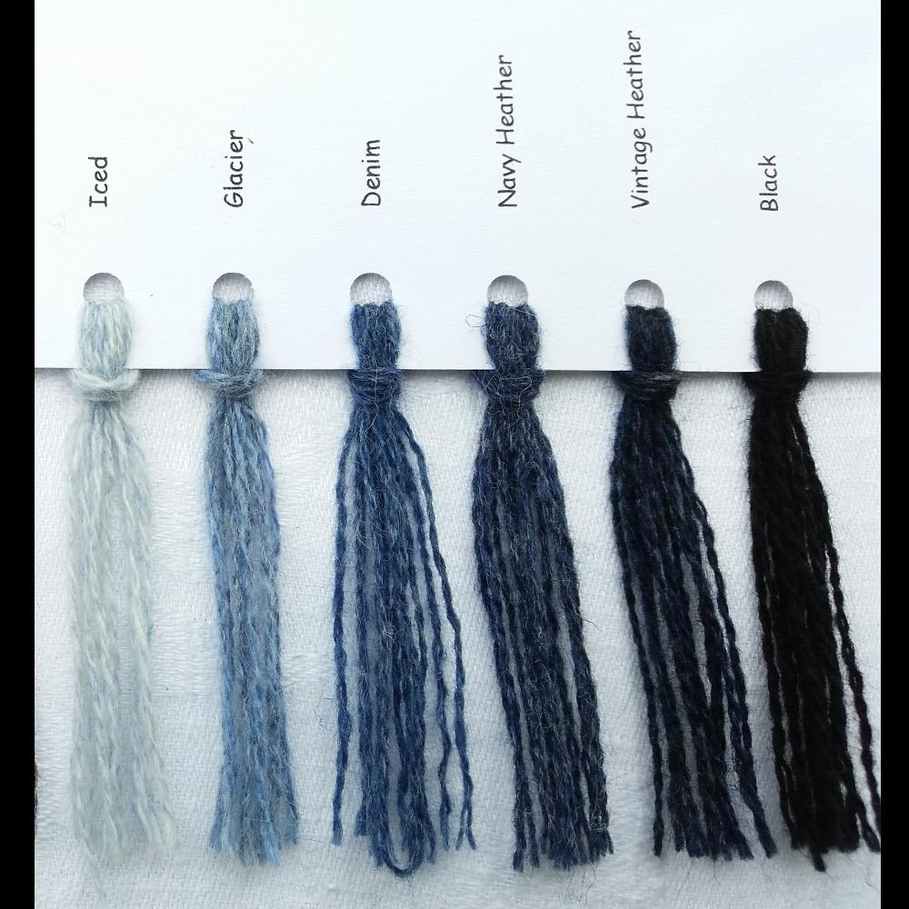 Ensfarvede Puder farvekort mørkeblå